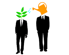 two men, one head is water the other a plant being watered