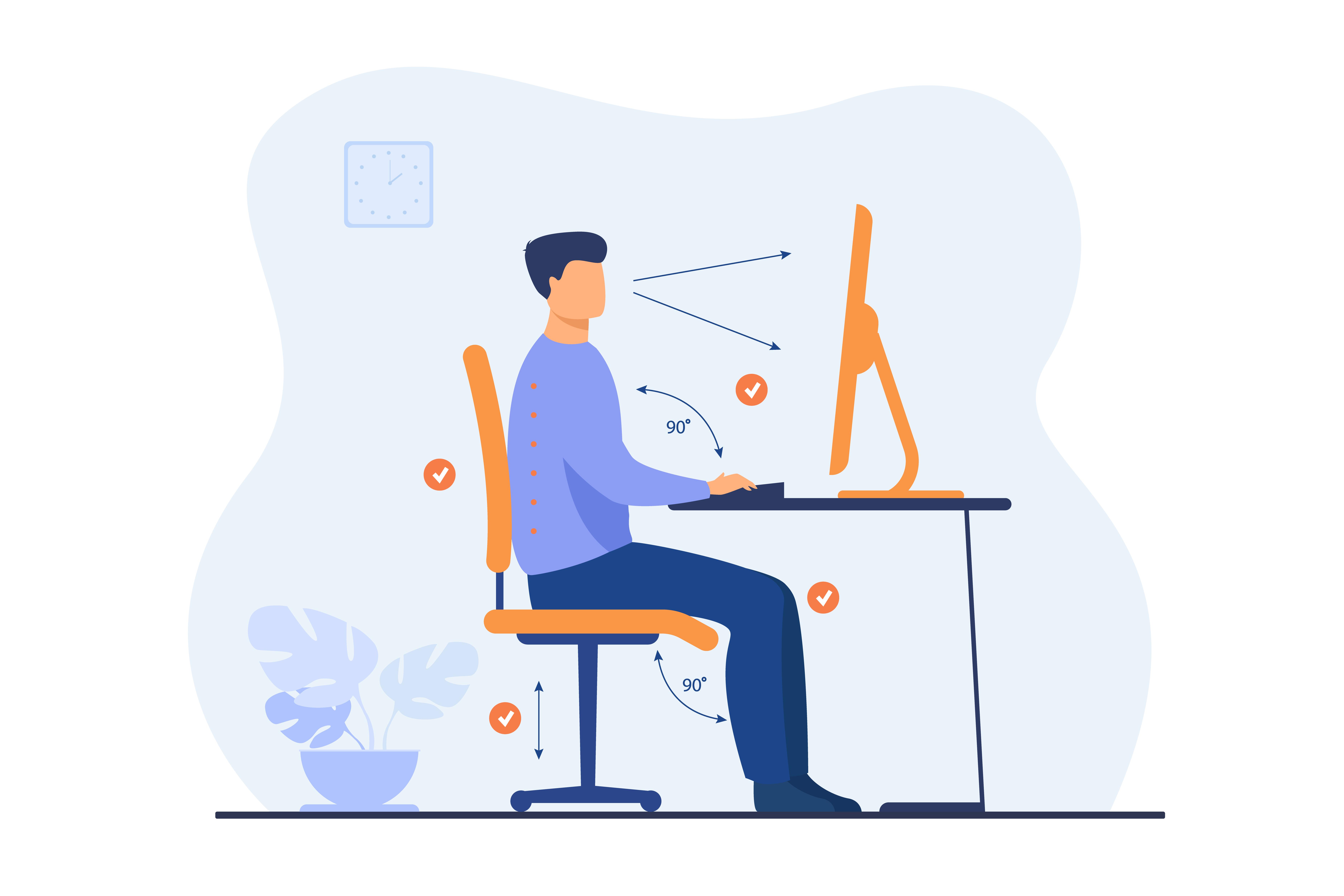 Une personne assis devant son bureau
