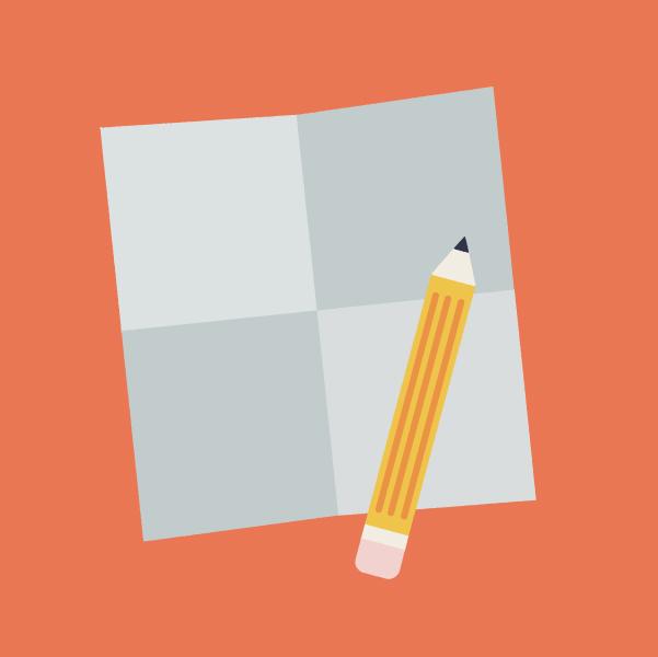 Papier et crayon prêt à être utilisés.