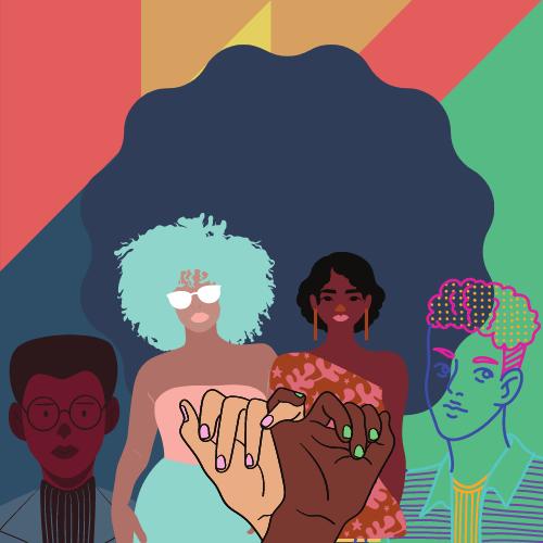 Illustration de différentes personnes et de petits doigts qui se lient entre eux