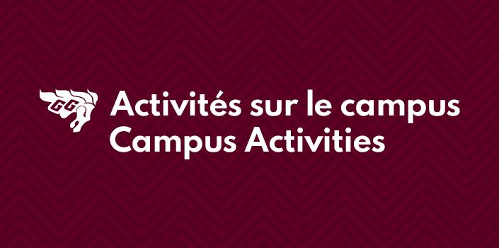 """Logo GG et text """"Activités sur le campus"""""""