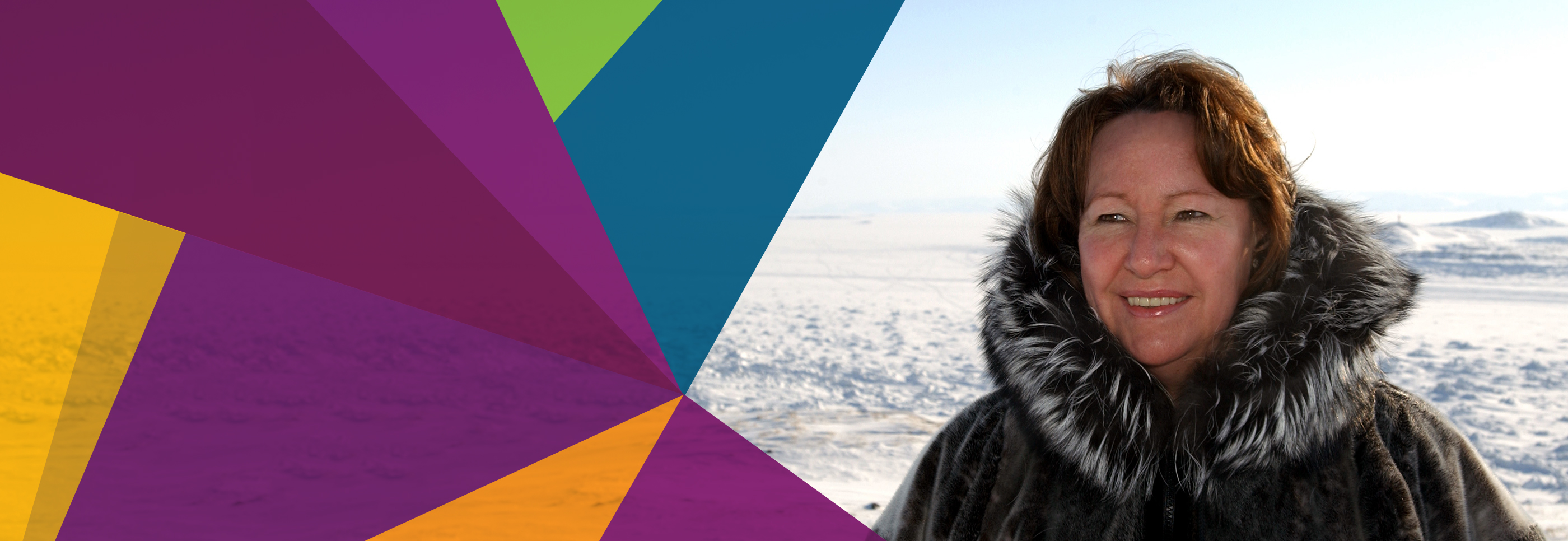Sheila Watt Cloutier with a nordic scenery in the background