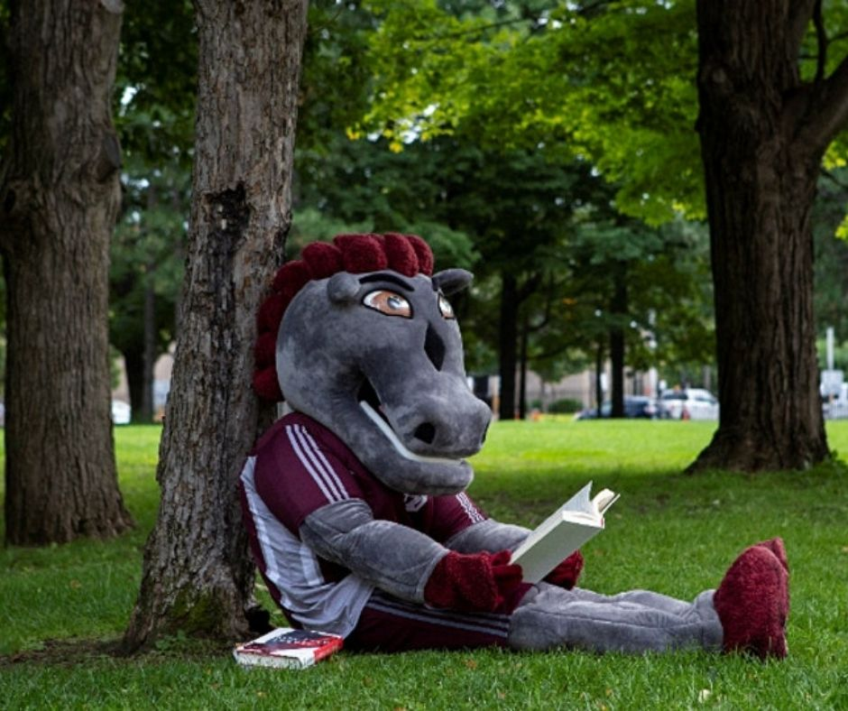 GeeGees mascot sitting comfortably against a tree hall reading a book