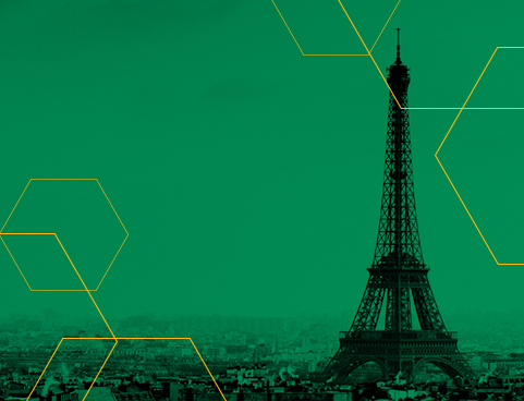 Green image of Paris landscape with Eiffel Tower in the background.