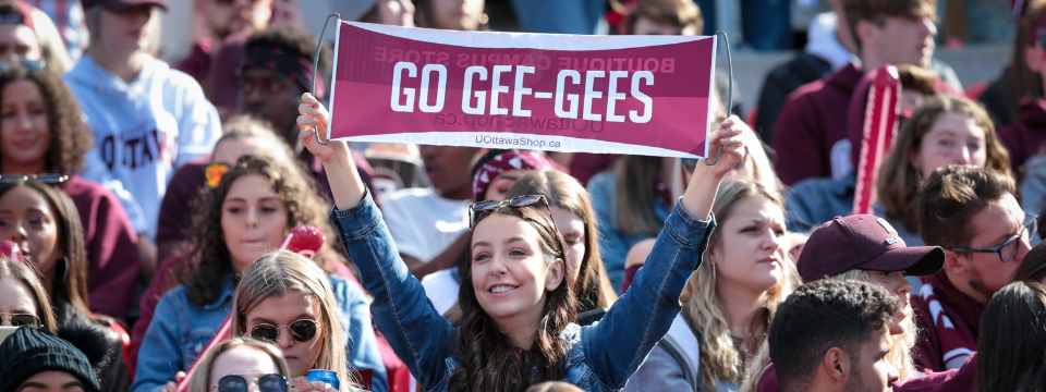 Student cheering gee-gees