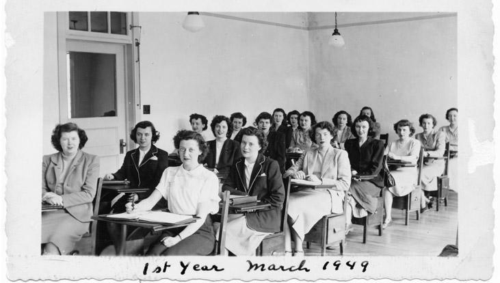 Étudiantes en sciences infirmières en 1949