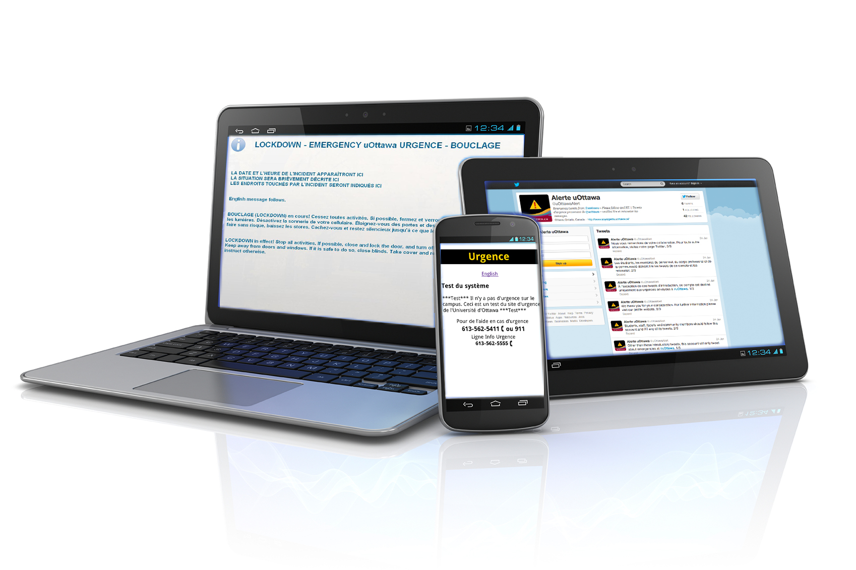 7.Picture of a uoAlert message on various  mobile devices including a tablet, laptop and cellphone