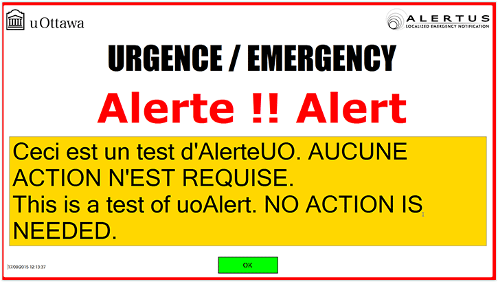 Alertus Screen alert image