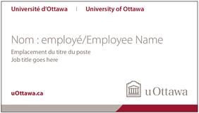 Carte professionnelle de l'Université d'Ottawa