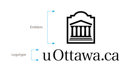 Vertical black uOttawa.ca logo on white background
