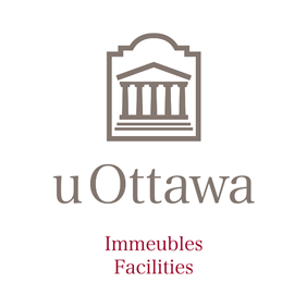 Vertical University of Ottawa logo with Facilities sub-brand
