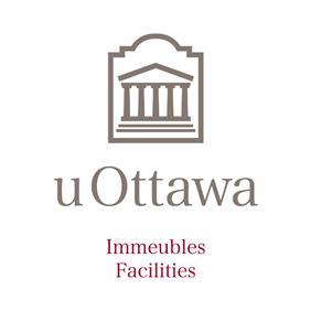 Vertical University of Ottawa logo with Facilities sub-brand