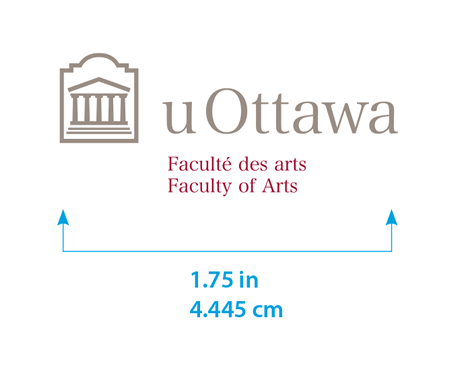 Minimum size for horizontal University of Ottawa logo with Faculty of Arts sub-brand
