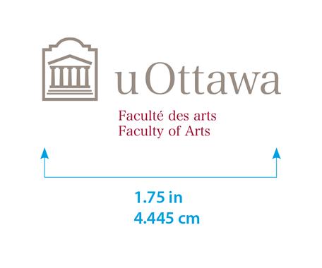 Minimum size for horizontal University of Ottawa logo with Faculty of Arts sub-brand