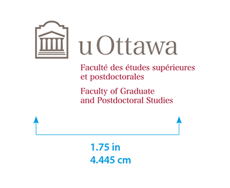 Minimum size for University of Ottawa horizontal logo with Faculty Graduate and Postdoctoral Studies sub-brand