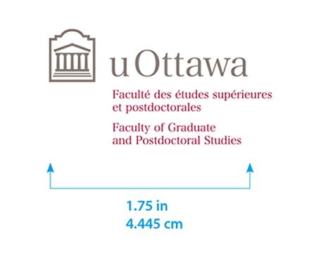 Minimum size for University of Ottawa horizontal logo with Faculty Graduate and Postdoctoral Studies sub-brand