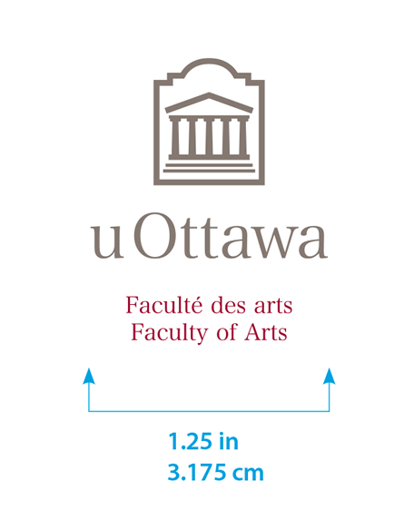Minimum size for vertical University of Ottawa logo with Faculty of Arts sub-brand