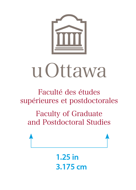 Minimum size for vertical University of Ottawa logo with Faculty Graduate and Postdoctoral Studies sub-brand