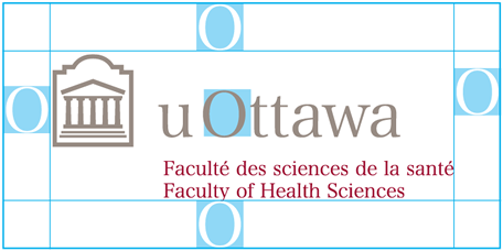 Protected area for horizontal University of Ottawa logo with Faculty of Arts sub-brand