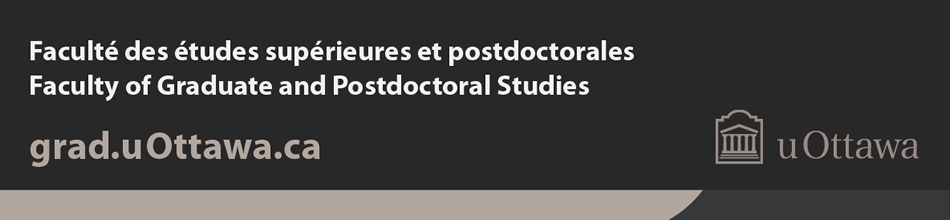 Example of Faculty of Graduate and Postdoctoral Studies footer (coloured branding band with horizontal grey logo)
