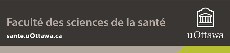 Pied de page de la Faculté des sciences de la santé – couleur (bande de marque avec logo blanc vertical)