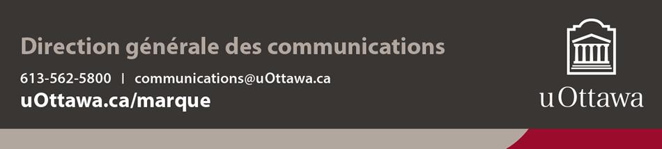 Pied de page institutionnel avec coordonnées de département ou de service – couleur (bande de marque avec logo blanc vertical)