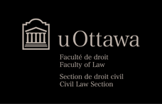 Faculty of Law – Civil Law Section – light grey horizontal logo on black background