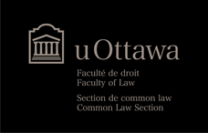 Logo horizontal de la Faculté de droit – Section de common law en gris pâle sur fond noir