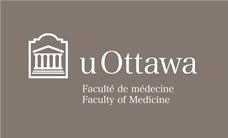 Logo horizontal de la Faculté de médecine en blanc sur fond gris foncé