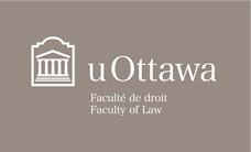 Faculty of Law white horizontal logo on grey background