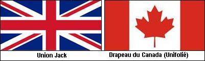 Drapeaux de l'Union Jack et du Canada