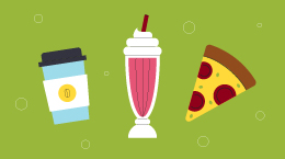 An illustration of a slice of pizza, a cup of coffee, and a milkshake