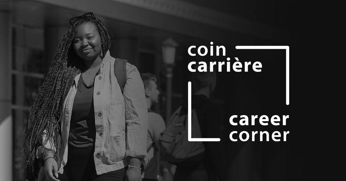 Student walking on campus and the Career Corner logo