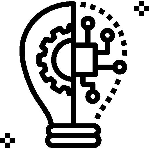 icone d'ampoule avec étoiles