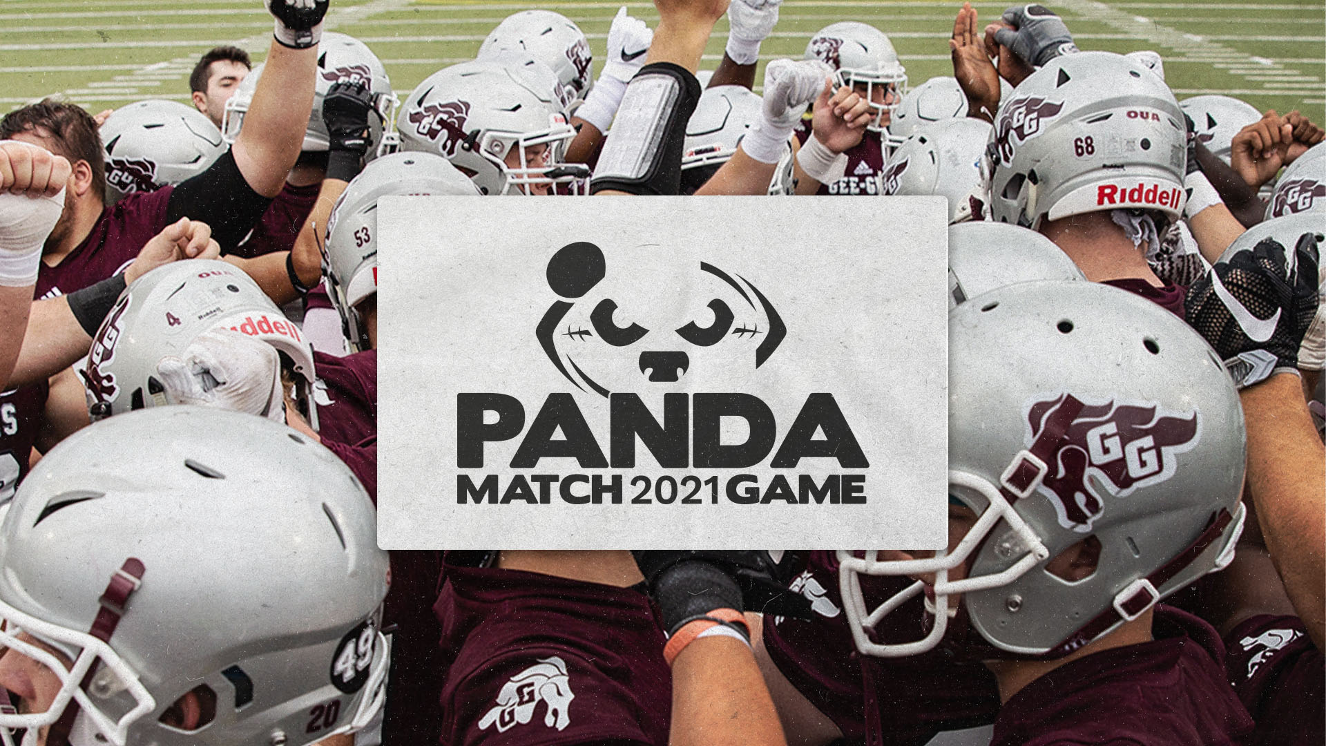 Gee-Gees football players and Panda Game logo
