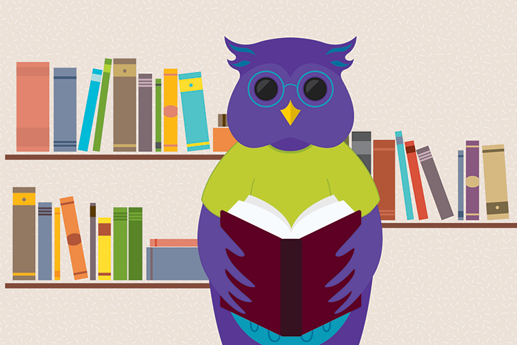 Illustration of an owl holding a book