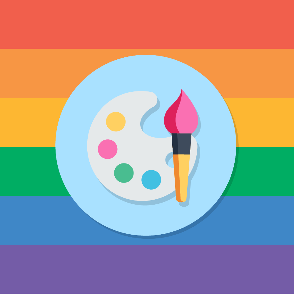 Rainbow flag with paint brush
