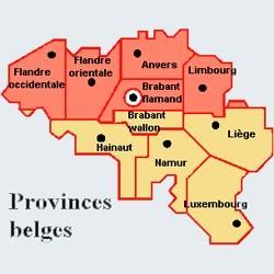 Provinces belge - Carte en français