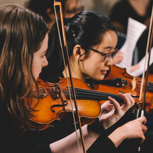 Students playing the violon