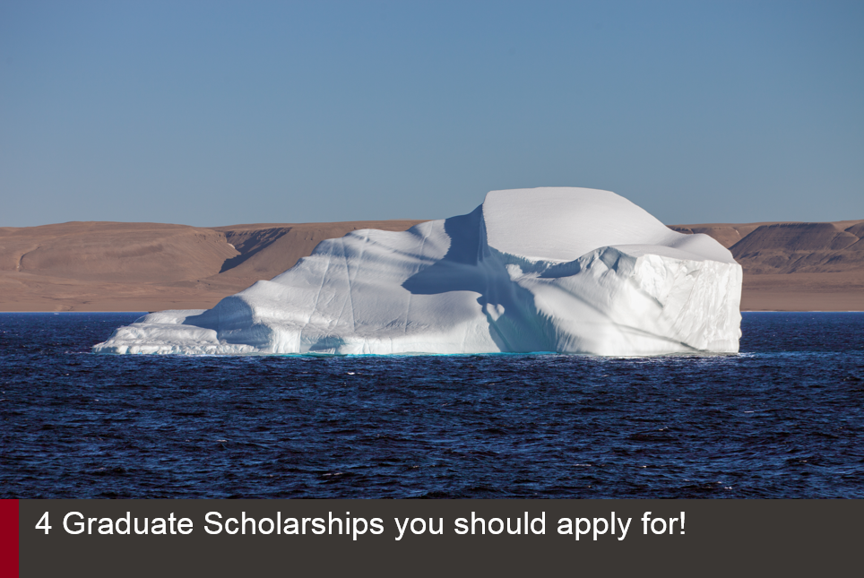 Iceberg floating in the sea entitled 4 Graduate Scholarships you should apply for!