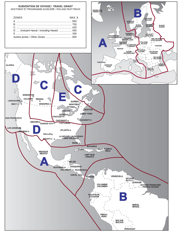 Carte Gographique Des Zones Pour Les Subventions De Voyages Confrence