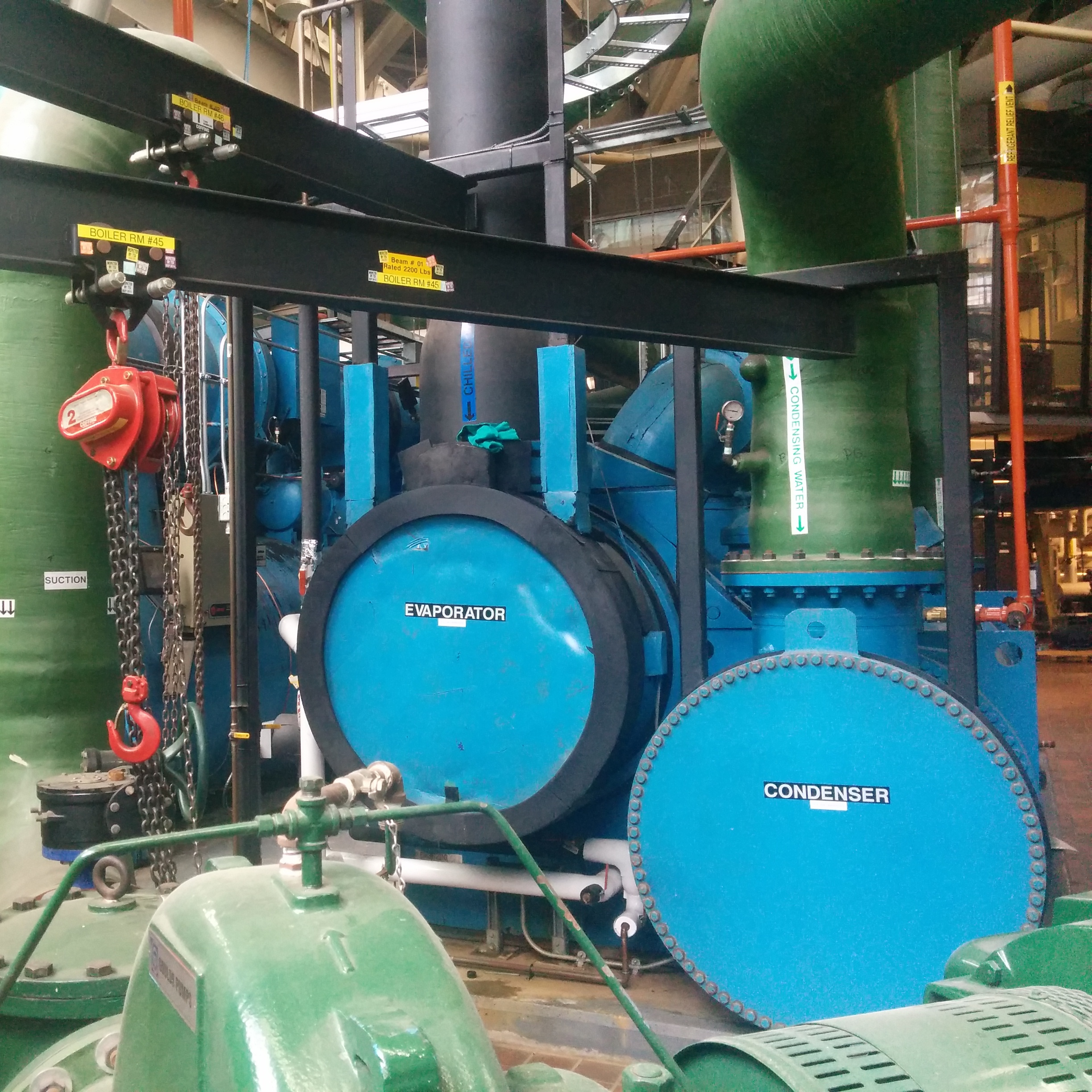 A picture of the power plant's blue chiller system