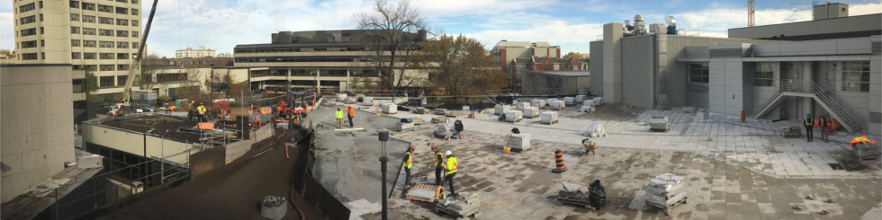 A panorama of the UCU terrace under construction