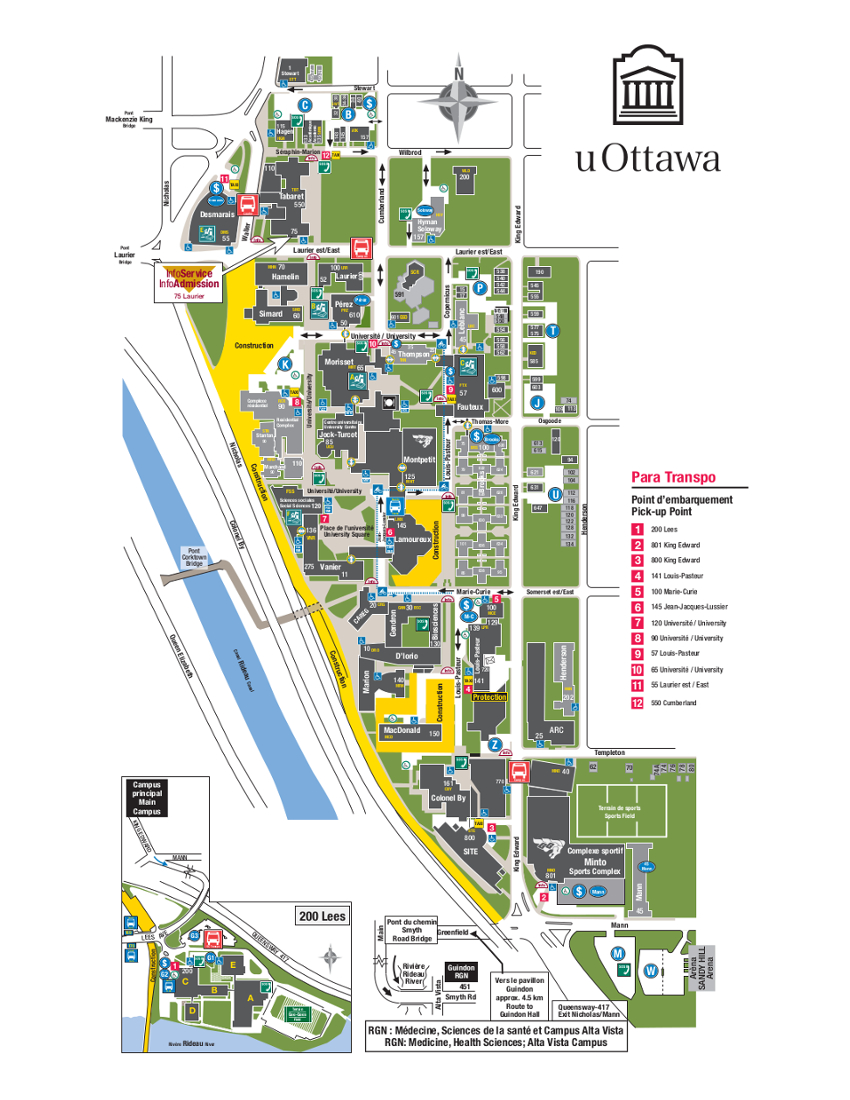 University Of Ottawa Map University Of Ottawa Campus Map | compressportnederland