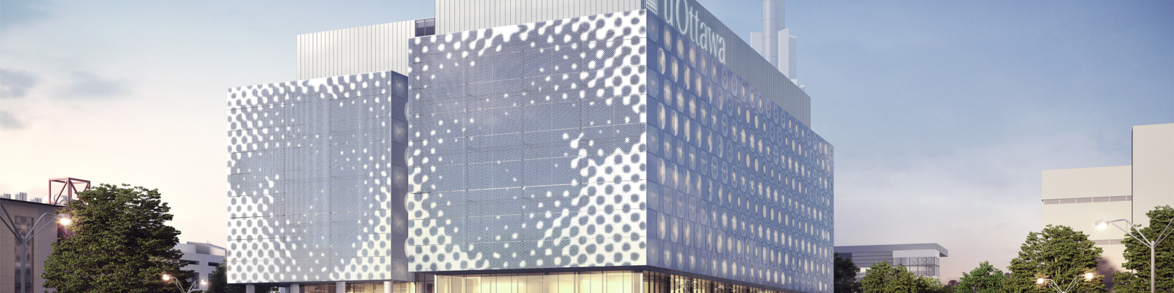 A banner illustrating part of the new STEM complex