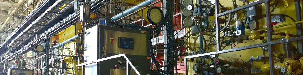 A banner showing the inside of the power plant