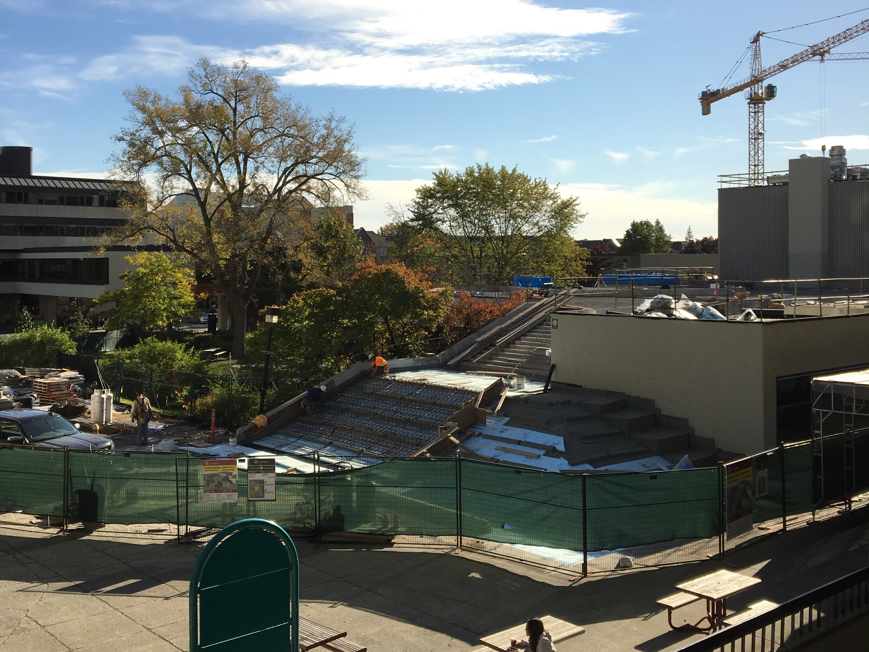 Construction at UCU Terrace at sunrise