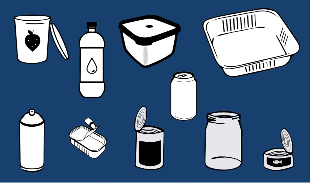 Plastic, metal, and glass items to recycle