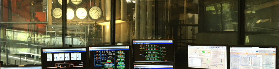 A view of the power plant taken from inside the control room