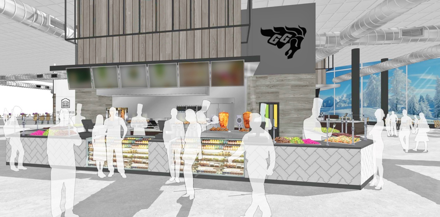 A rendering of the new lebanese restaurant in the Learning Crossroads